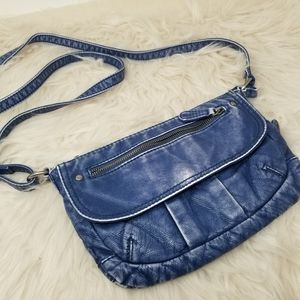 BUENO DISTRESSED BLUE FAUX LEATHER CROSSBODY